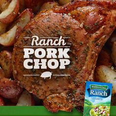 Hidden Valley Ranch Pork Chops- Ingredients 1 packet ounce) Hidden Valley® Original Ranch® Salad Dressing & Seasoning Mix 6 pork loin rib chops about thick dash of paprika (optional) salt fresh cracked black pepper Preheat the oven to Bake 20 min-SR Pork Loin Ribs, Ranch Pork Chops, Baked Pork Loin Chops, Crock Pot Pork Chops, Bone In Pork Chop Recipe Oven, Dry Rub Pork Chops, Pork Chops In Oven, Instapot Pork Chops, Food Dinners