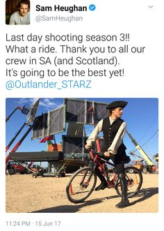 Last day of shooting Season 3 Voyager Outlander_Starz - posted up by Sam Heughan - June 16th, 2017 - 3 more months till September