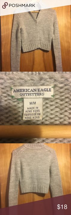 AMERICAN EAGLE 🦅 GREY CARDIGAN WAIST CUT Cute and comfy piece gently loved American eagle cardigan. I consider all offers and love to bundle. American Eagle Outfitters Sweaters Cardigans
