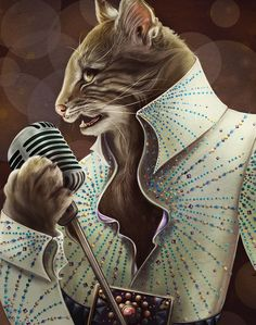 Elvis Petme The king needed to be a wild cat. Inspired by Rufus from Big Cat Rescue. Digital.