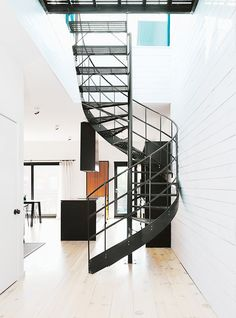 All black metal, spiral staircase
