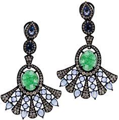 """Sutra Jewels """"Sapphire Fan"""" Drop Earrings"""