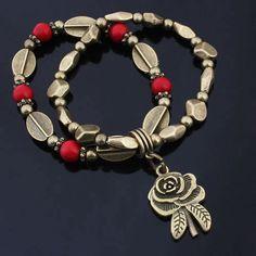 Armband, mit Porzellan, Blume