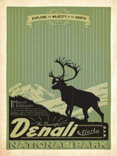 Vintage National Park Posters   Denali National Park poster by Anderson Design Group