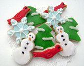Mini Christmas Sugar Cookies - Christmas Tree, Snowman, Reindeer, Candy Cane. $16.00, via Etsy.
