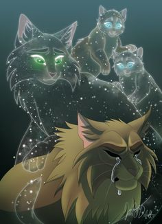 Regret by CranberrytheCat-Crookedstar with mate and lost kits looking after him in Starclan