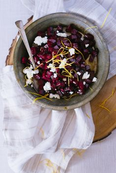 Bring some fun to the dinner table! Citrus and honey roasted beets with goat cheese. My kiddos love when we make this & it's perfect for holidays too!