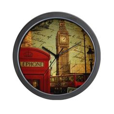 vintage London UK fashion Wall Clock on CafePress.com