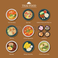 set of thai food Stock Vector
