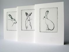 Set of greeting cards - Hare charcoal drawings x3. €6.00, via Etsy.