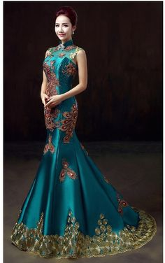 Traditional Chinese fashion Embroidered Mermaid Chinese Phoenix Gown Qipao