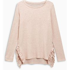 Cosy Ruffle Top ($33) ❤ liked on Polyvore featuring tops, sweaters, ruffle trim sweater, ruffle top, flutter-sleeve tops, embellished top and pink sweater
