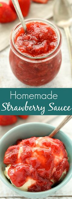 This homemade strawberry sauce recipe is easy to make and only requires three simple ingredients. Perfect for topping on pancakes, waffles, ice cream, cheesecakes, and so much more!