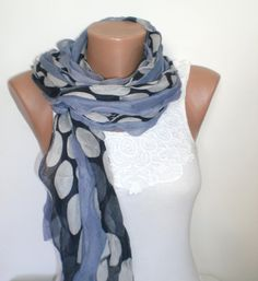 BLACK  and GREY and WHITE Scarf  For 4 seasons by scarfstore2012, $22.50