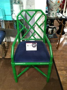 conservatory - green / navy Palm Beach style bamboo regency furniture; love the green, hate the blue.  But the chair is great