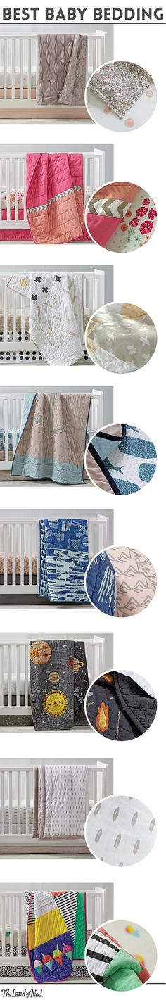 Create the coziest nursery for your little ones with amazing crib bedding sets. The Land of Nod's newest bedding essentials feature the comfiest cotton and prints exclusively designed for us by artists. From neutral designs and animal motifs to floral patterns and woodland scenes, there's a style to suit any boy's or girl's nursery. Plus, don't forget to finish off the look with a baby quilt, blanket and crib skirt.