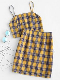 Yellow Summer Plaid Flat Zipper High Sleeveless Spaghetti Slim Casual Casual and Going Smocked Back Cami Plaid Skirt Set Summer Outfits Women, Teen Fashion Outfits, Casual Summer Outfits, Outfits For Teens, Trendy Fashion, Spring Outfits, Plaid Fashion, Outfit Summer, Dress Casual