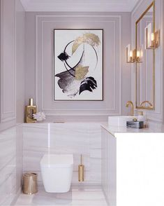 Bathroom Decor marble white marble bathroom, dysty pink walls, gold mirror, lamps, modern feminine classic with large painting on the wall Bathroom Goals, Bathroom Wall Decor, Bathroom Interior Design, Interior Decorating, Bathroom Ideas, Mauve Bathroom, Bathroom Organization, Bathroom Storage, Feminine Bathroom