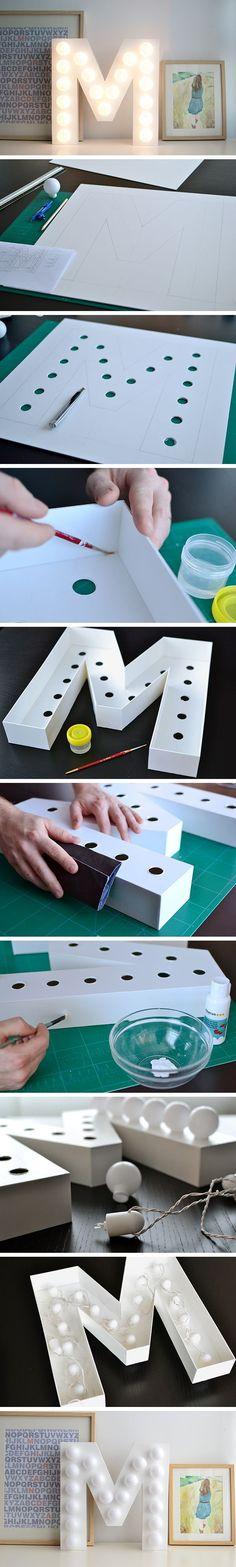 15 Bastelideen DIY Lampen selber machen - DIY Leuchtbuchstabe