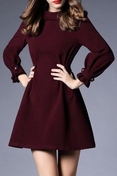 Silkwei Wine Red Pure Color Ruffle Dress   Mini Dresses at DEZZAL