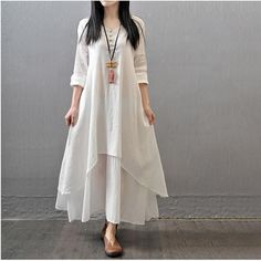 nice 2016 New Autumn Women Linen Retro Dress Female falling loose long sleeved dress white casual Robe maxi Vestidos Plus Size-in Dresses from Women's Clothing & Accessories on Aliexpress.com | Alibaba Group by http://www.dezdemonfashiontrends.top/new-fashion-trends/2016-new-autumn-women-linen-retro-dress-female-falling-loose-long-sleeved-dress-white-casual-robe-maxi-vestidos-plus-size-in-dresses-from-womens-clothing-accessories-on-aliexpress-com-alibaba-gro/