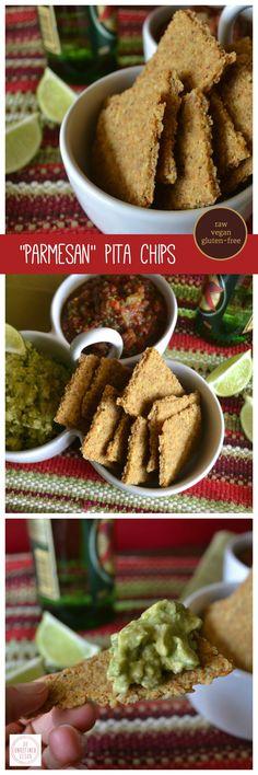 "Vegan, gluten-free, raw ""Parmesan"" Pita Chips by An Unrefined Vegan."