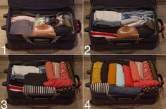 "Packing like a pro: ""Build up progressive layers in your suitcase, padding delicate items like jewelry with clothes on all sides. Make sure to put bulky stuff, like purses, hairdryers, and bras in early to ensure you have enough room for everything""."