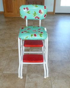 Stamps and Stitches: retro kitchen stool makeover - my mom had a chair like this, just got one at a yard sale, hmmm, getting ideas ;)