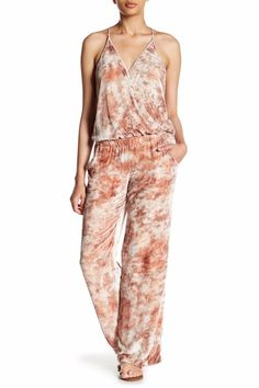 c47cdfe0b751 NWT Young Fabulous   Broke YFB Naomi in Peach Cloud Velvet Surplice  Jumpsuit L  YoungFabulousBroke  Jumpsuit