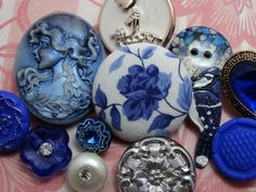 EXCEPTIONAL LOT VINTAGE & NEW FANCY BUTTONS Rhinestone Glass Cameo + in Mixed Lots | eBay