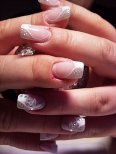 27 Nail Art Ideas And Nail Designs Best Picture For wedding nails baby boomer For Your Taste You are looking for something, and it is going to tell you exactly what you are looking for, and you didn't Get Nails, Prom Nails, Fancy Nails, Pretty Nails, Hair And Nails, Sparkly Nails, Wedding Day Nails, Bridal Nails, Nagellack Party