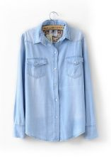 Light Blue Floral Lining Denim Shirt ... uhh new fav clothing website