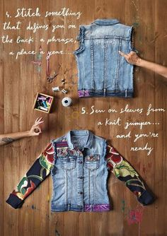 Purveyor of pottery glass and asian porcelain i am currently a consignor at the consignment shop in lake odessa michigan i have 4 tubs of denim vests Artisanats Denim, Denim Vests, Kleidung Design, Diy Kleidung, Diy Clothing, Sewing Clothes, Jean Diy, Jeans Refashion, Diy Vetement