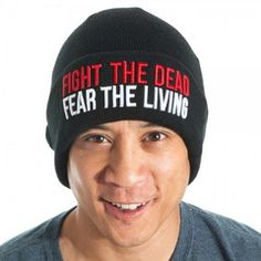The Walking Dead Fight the Dead Fear the Living Adult Mens Winter Black Beanie Hat Skull Cap from HauntedFlower.com