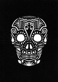 Easy sugar skull stencil   hu   Pinterest   Sugar skull ...