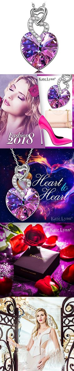 Gift for Women Gifts for Mom KATE LYNN Purple Heart Pendant Necklace Swarovski Crystals Anniversary Gifts for Her Birthday Gifts for Wife Teen Girls Gift Present for Mom