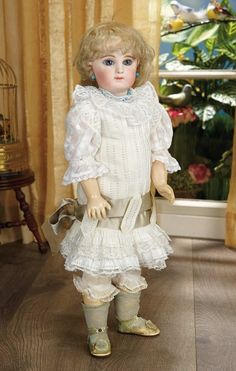 Sanctuary: A Marquis Cataloged Auction of Antique Dolls: Very Fine Earliest Period EJ Bebe with Original Jewelry and Signed Jumeau Shoes