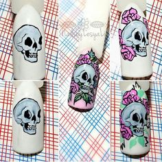 Маникюр МК, ногти мк обучающие видео. Skull Nail Art, Skull Nails, Matte Nails, Pink Nails, Acrylic Nails, Holloween Nails, Halloween Nail Art, Holiday Nail Designs, Nail Art Designs