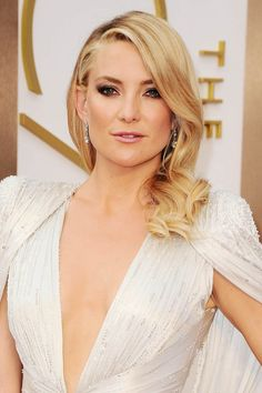 Kate Hudson's glamorous smoky eyes may be a bit much on the big day, but her curls, swept to one side are most certainly wedding-worthy!