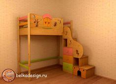 Кровати  Детский Интерьер, Кровать домик с лесенкой стеллажом и декоративной панелью, мебель для дома, детская, мебель на заказ, мебель для дома на заказ - Мебель и цены