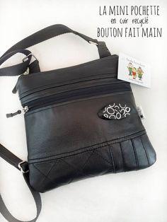Mini Pochette, Recycled Leather, Asymmetrical Design, Cotton Canvas, Shoulder Strap, Creations, Zipper, Pocket, Etsy