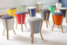 Hand-made recycled steel bucket Birch ply legs & Upholstered Seat Finish: Galvanised & powder-coated bucket – varnished legs Dimensions (mm): 550 Diy Furniture Chair, Funky Furniture, Recycled Furniture, Furniture Design, Storage Stool, My New Room, Upholstery, Interior Design, Decoration