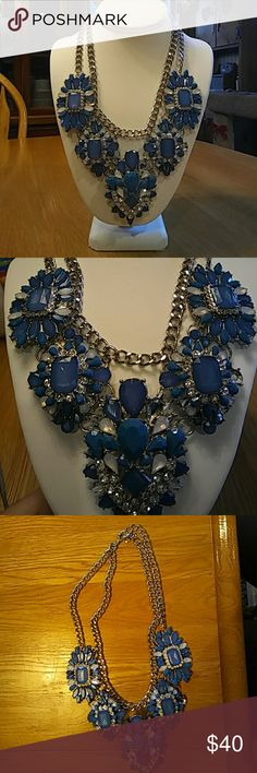 Beautiful blue necklace Chunky bright blue necklace with double chain Jewelry Necklaces