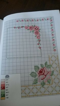 Lovely floral/roses cross stitch embroidered tablecloth in linen from Sweden Cross Stitch Pattern Maker, Cross Stitch Fabric, Cross Stitch Borders, Cross Stitch Rose, Cross Stitch Samplers, Cross Stitch Flowers, Modern Cross Stitch, Cross Stitch Designs, Cross Stitching
