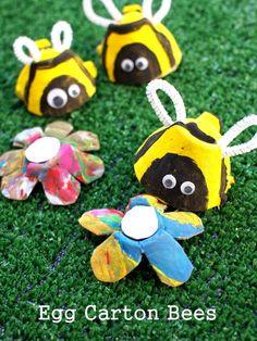 Egg carton bees.  #preschool #kidscraft #bees