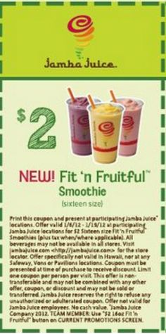 Jamba Juice- Get a free smoothie with purchase of $25 or more in gift cards through January 2, 2014. http://www.bestfreestuffguide.com/Free_Jamba_Juice_Coupons