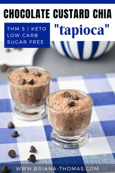 """Chocolate Custard Chia """"Tapioca"""": it's sugar free, a THM S dessert or snack, and low carb. Even better, it contains 7 grams of protein per serving! Gluten free and dairy free with nut free option. Thm Recipes, Dairy Free Recipes, Snack Recipes, Dessert Recipes, Gluten Free, Ketogenic Recipes, Recipies, Healthy Recipes, Chocolate Custard"""