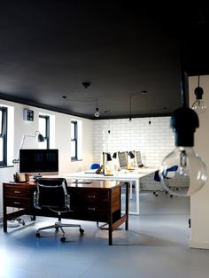 Again, thinking about embracing the white walls Farrow and Ball Off Black painted ceiling | workspace 47parkav.blogspot.co.uk