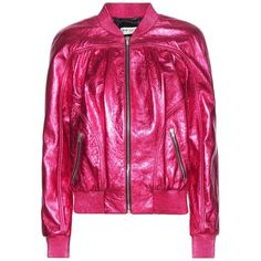 Saint Laurent Metallic Leather Bomber Jacket ($4,520) ❤ liked on Polyvore featuring outerwear, jackets, pink, flight jacket, bomber jacket, genuine leather jackets, yves saint laurent and pink bomber jacket