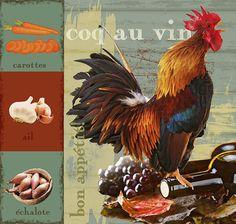 Coq au vin  Digital Download Art kitchen art food vintage